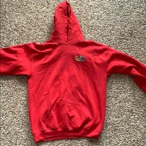 red Ron Jon Surf Shop hoodie with colorful logo